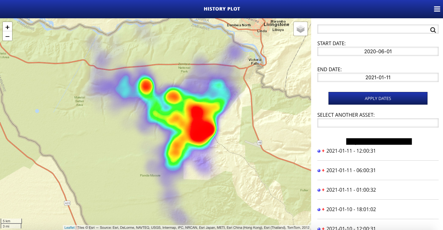 Heat Map generated on the AWE Telemetry Systems Portal showing where an animal spends most of its time.